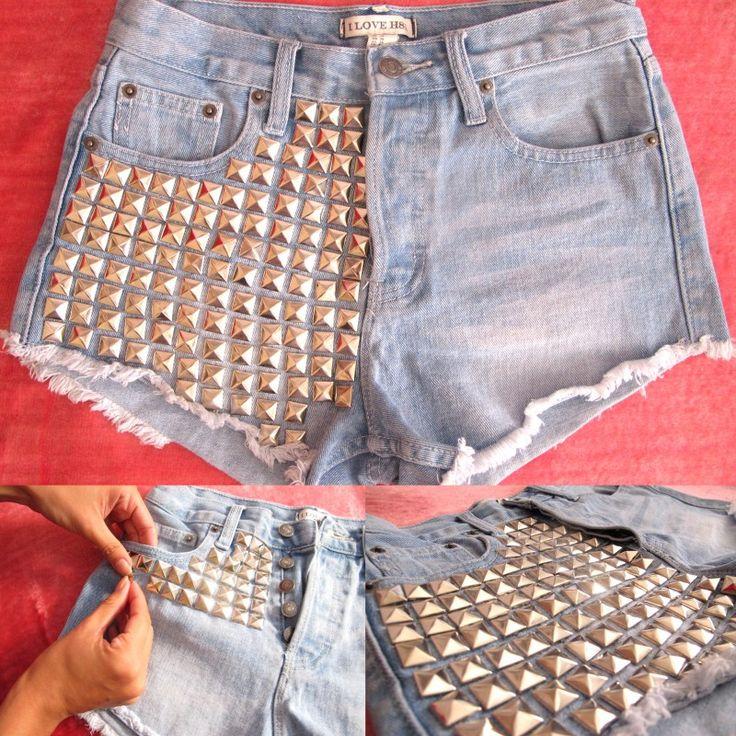 bermuda jeans com tachas