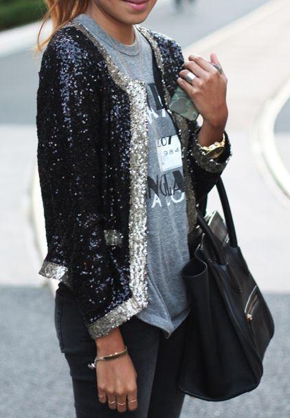 blazer Billie Jean de paetês com camiseta básica