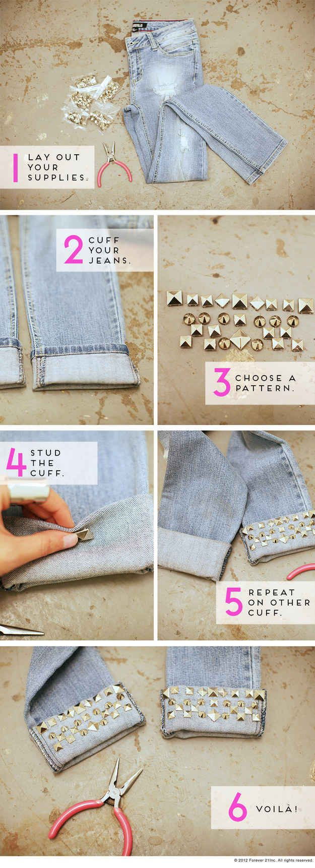 como colocar tachas em calças jeans