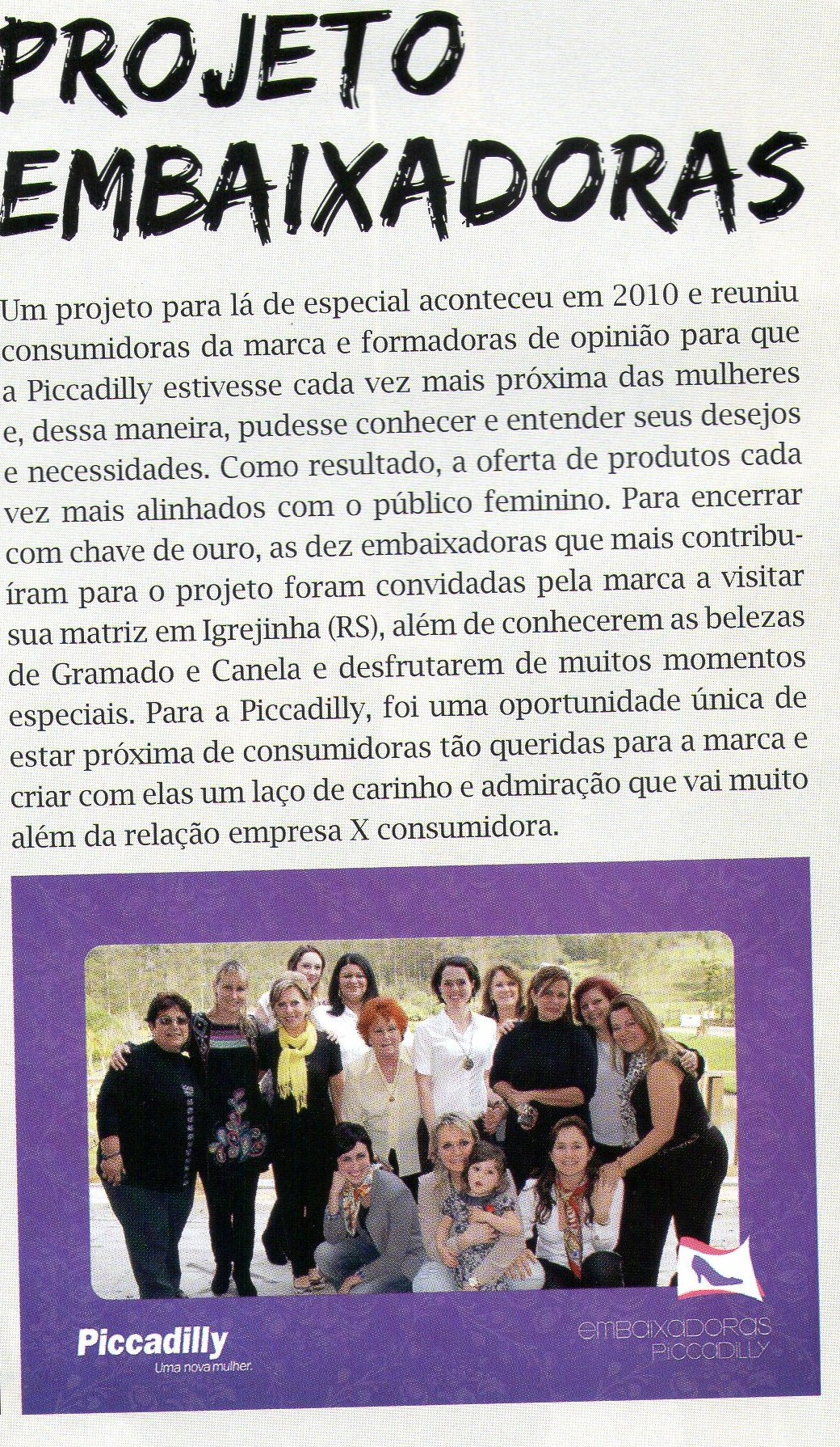 Matéria na revista Piccadilly