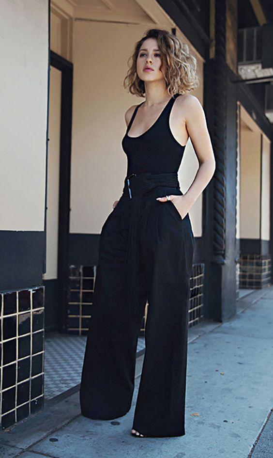 Calças Wide Legs preta look all black todo preto