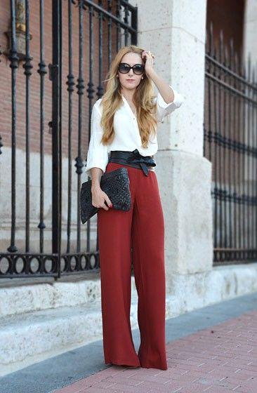 Calças Wide Legs vermelha 1