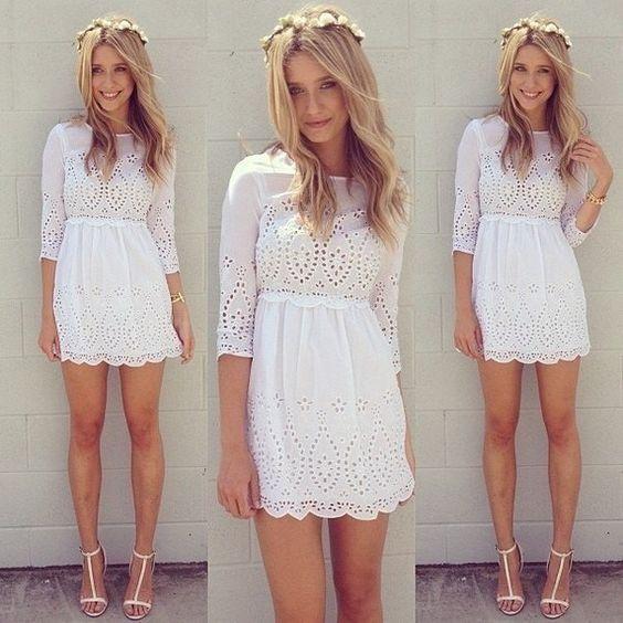 vestido branco em laise