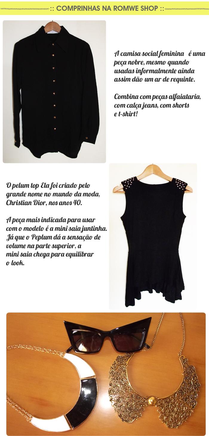 camisa social feminina, peplum top e acessórios