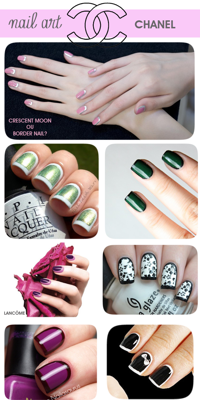 Nail art crescent moon e border nails blog meninaIT