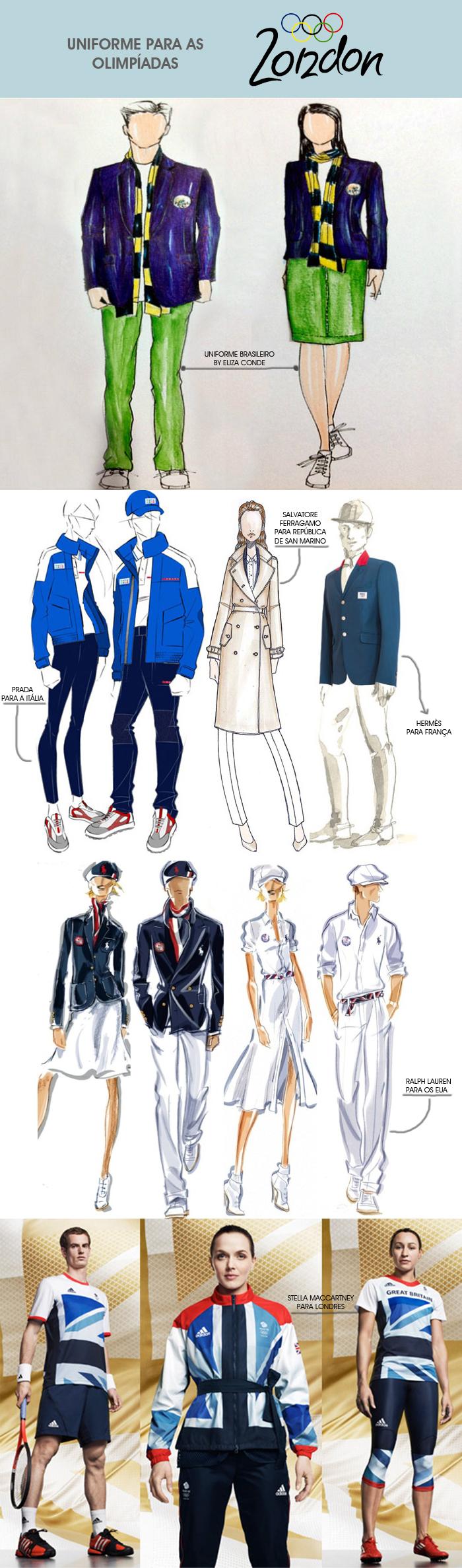 uniformes das olimpíadas 2012 de Londres assinado por estilitas famosos