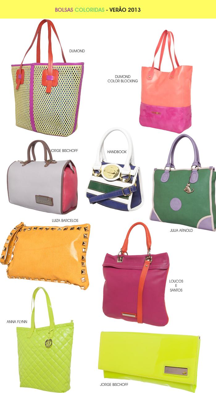 bolsas coloridas para o verão 2013 Blog MeninaIT