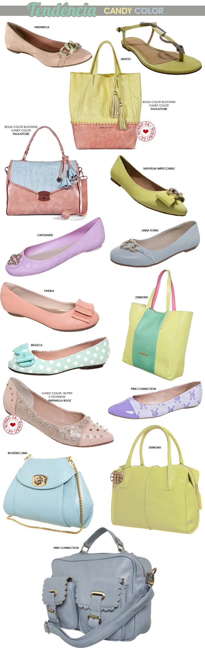 sapatilhas, slippers e bolsas na tendência candy color blog MeninaIT