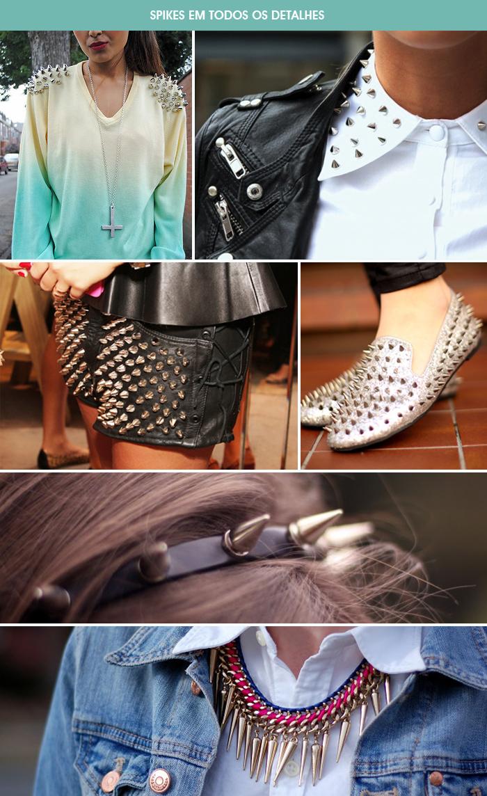 tendência em spikes em sapatos, roupas, bolsas e acessórios