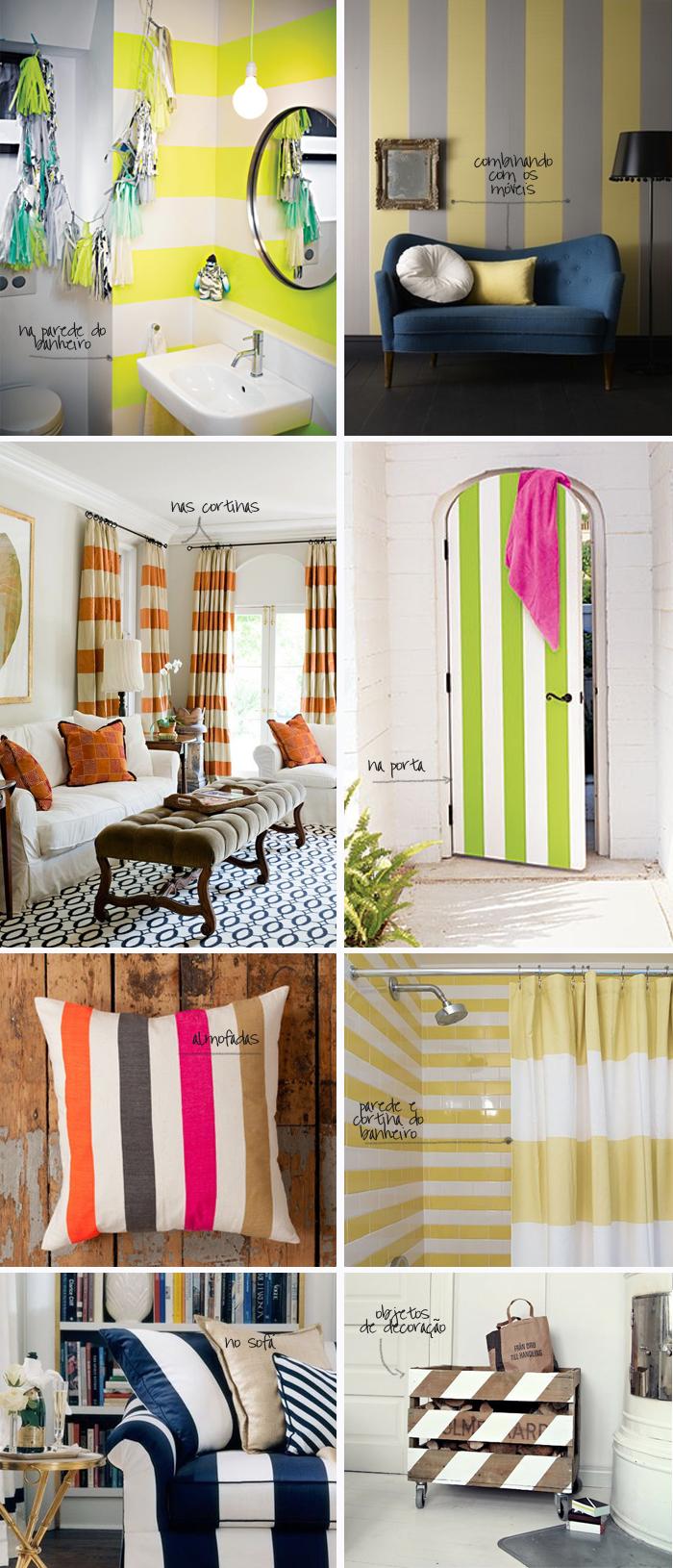 decoração com listras em móveis, almofadas, cortina e banheiro MeninaIT
