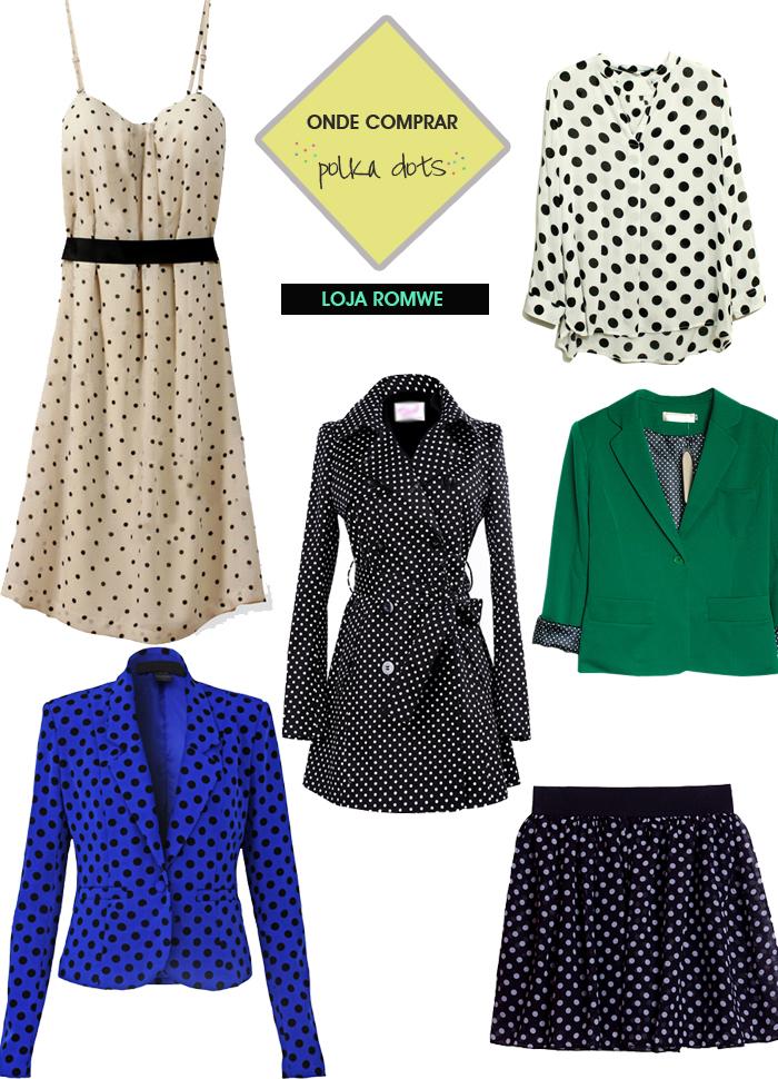onde comprar roupas com bolinhas polka dots poás loja Romwe MeninaIT