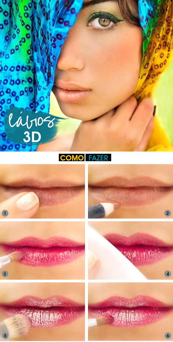 How to lábios em 3D com sombra Dica de Beauté blog MeninaIT