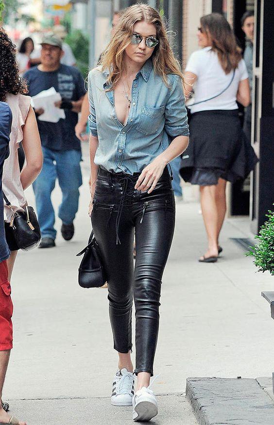 calça de couro como usar celebridades