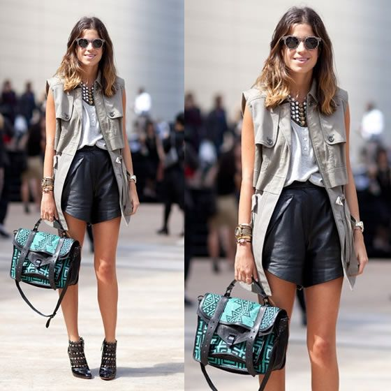 shorts de couro como usar no verão