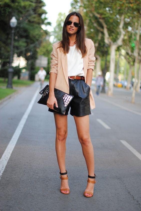shorts de couro como usar