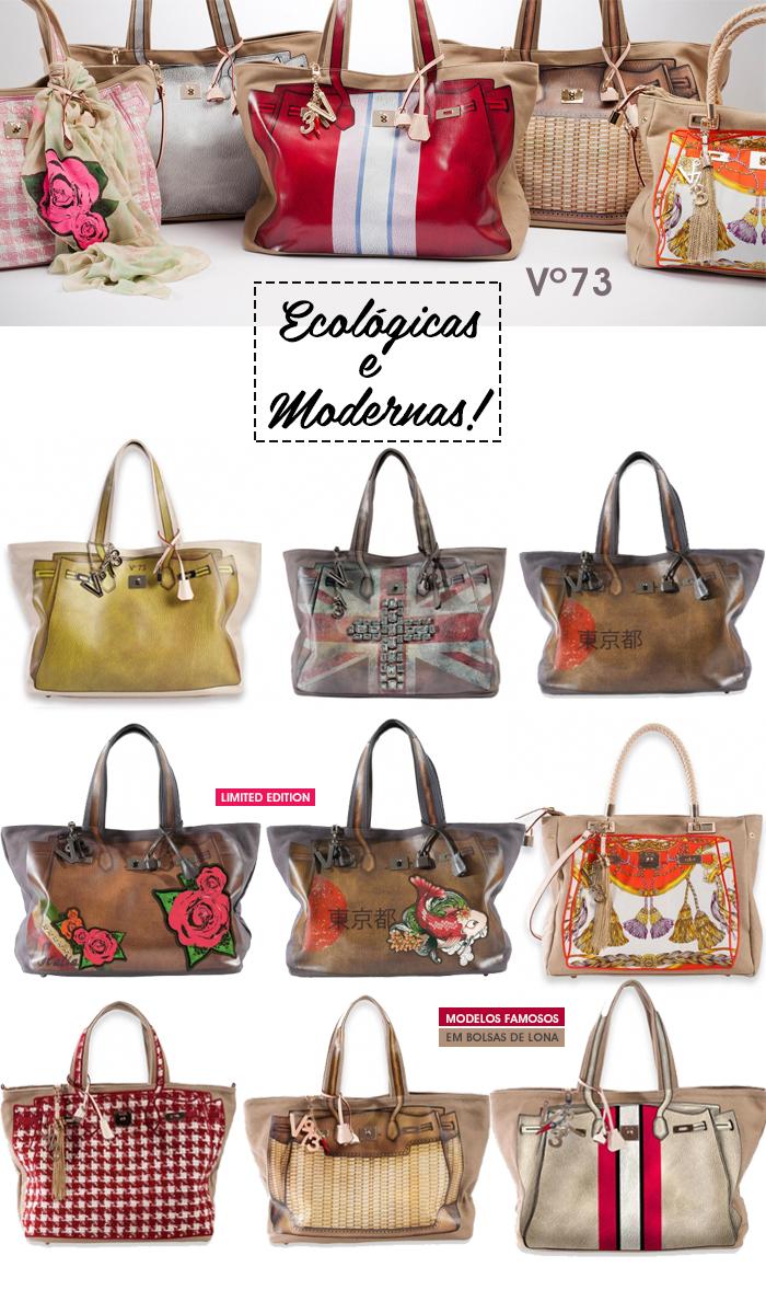 Bolsas de lona ecológicas e modernas marca V 73 fashion blog MeninaIT