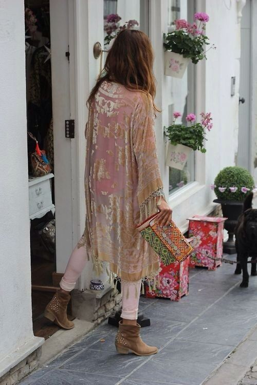 kimono de veludo look