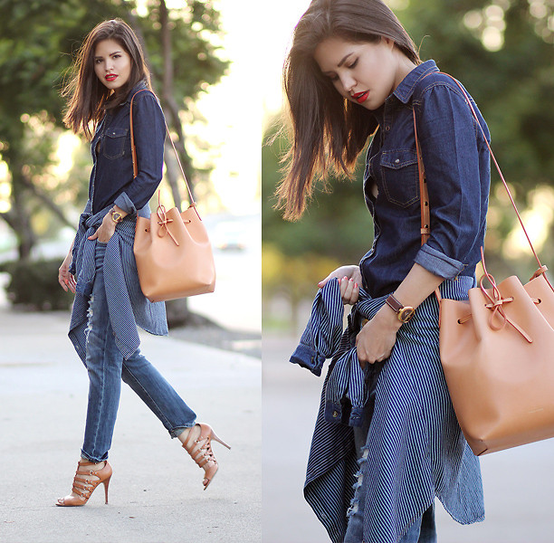 look all jeans com bucket bag