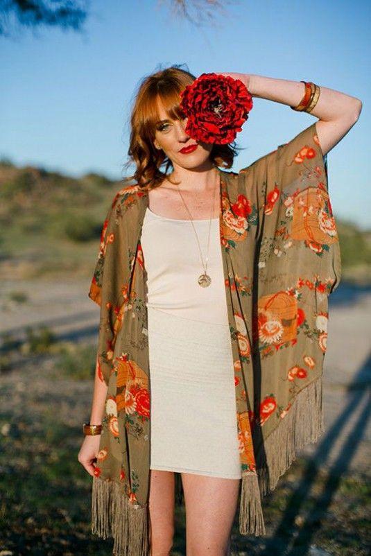 look com kimono e flores
