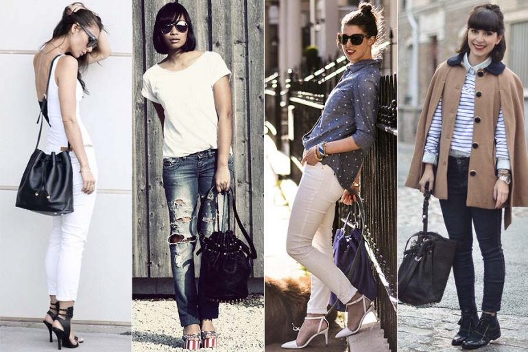 looks despojados com bucket bag