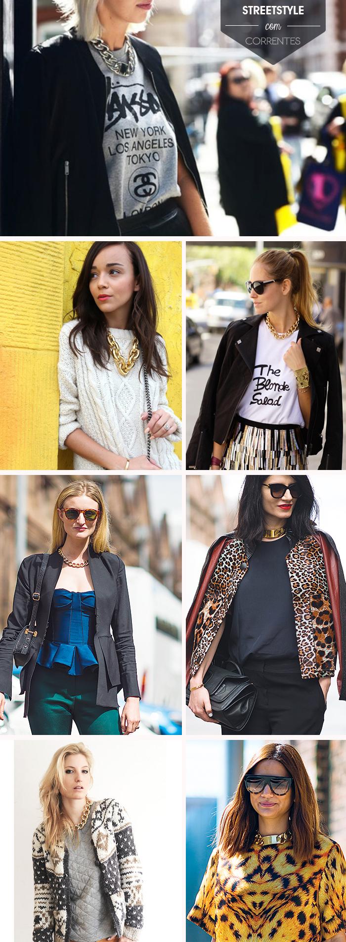 Street Style acessórios tendência super gargantilhas de correntes Fashion blog MeninaIT