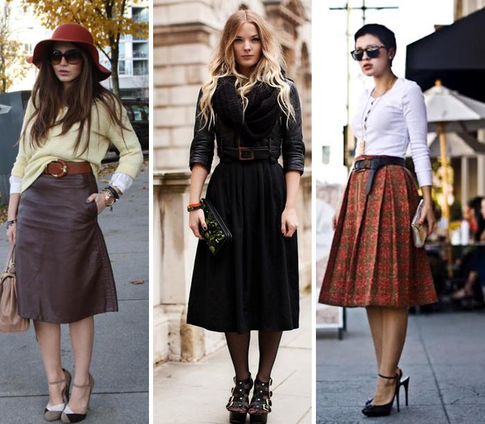 como usar saia midi no inverno Street Style Deisi Remus