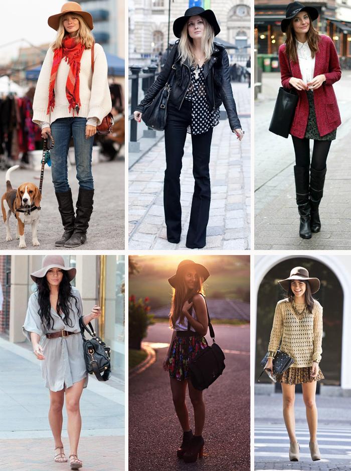 Como usar chapéu floppy com calça, vestido, saia e shorts no inverno e verão MeninaIT