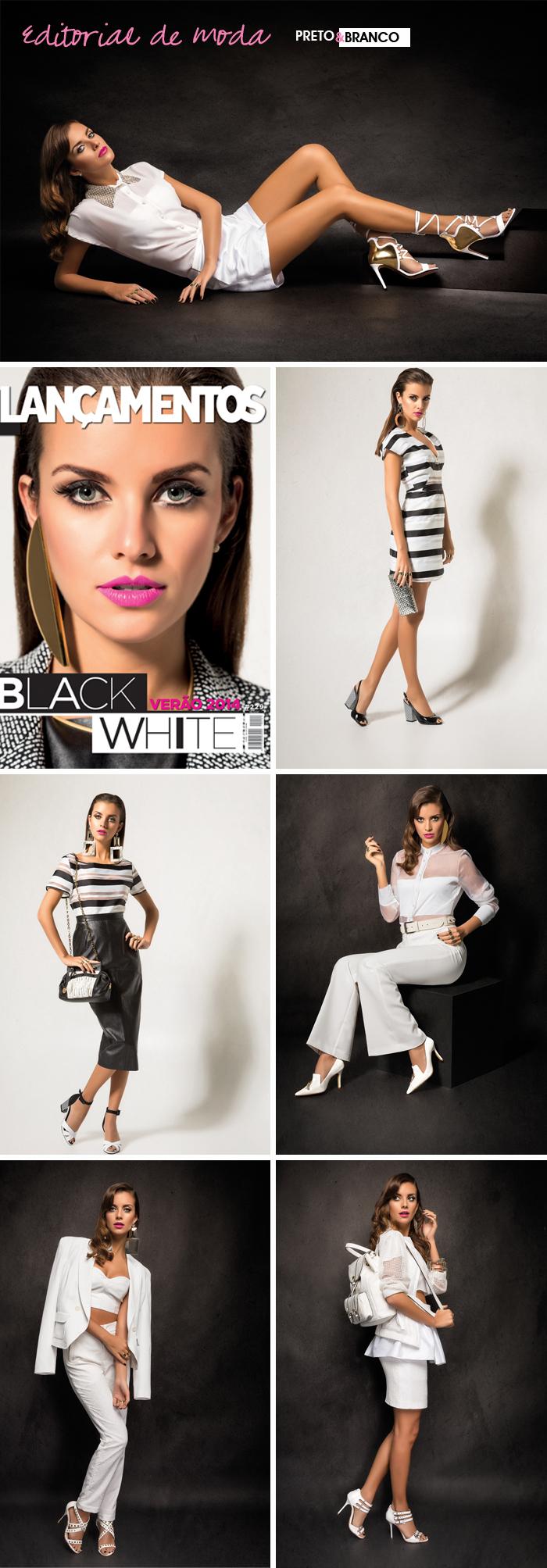 Editorial de moda tendência preto e branco Revista Lançamentos Site de moda feminina MeninaIT