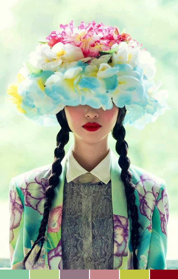 Inspirations of the week flowers and colors in hair fashion blog MeninaIT