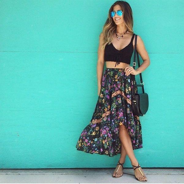 look moda de rua saia florida e top peto