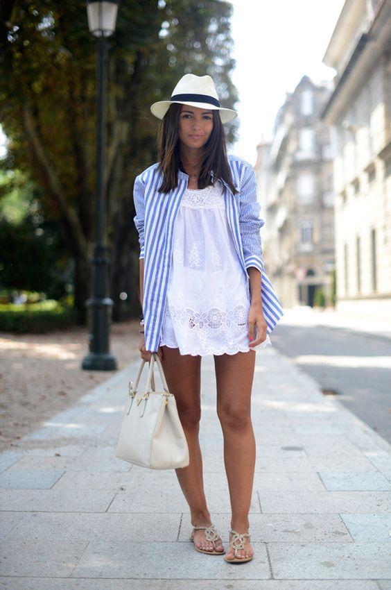 vestido branco, camisa listrada e chapéu de palha