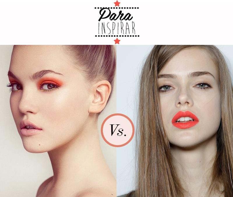Maquiagem colorida nos olhos ou nos lábios