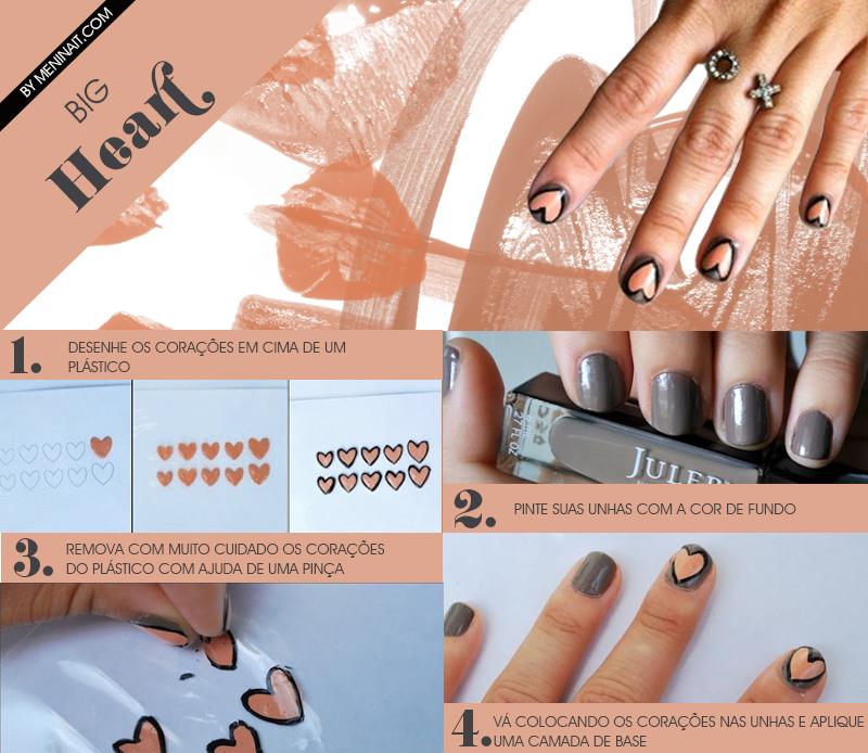 Tutorial de nail art com decoração em unha em forma de coração feita em plástico