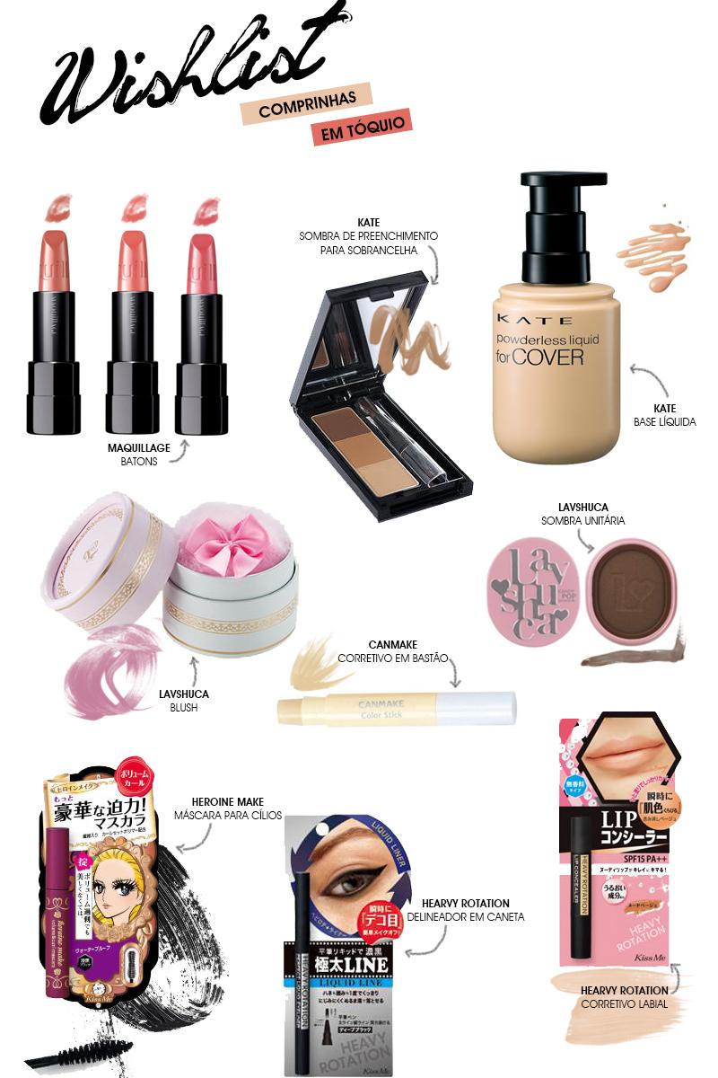 Wishlist compras em tóquio cosméticos e maquiagens das marcas mais famosas do japão