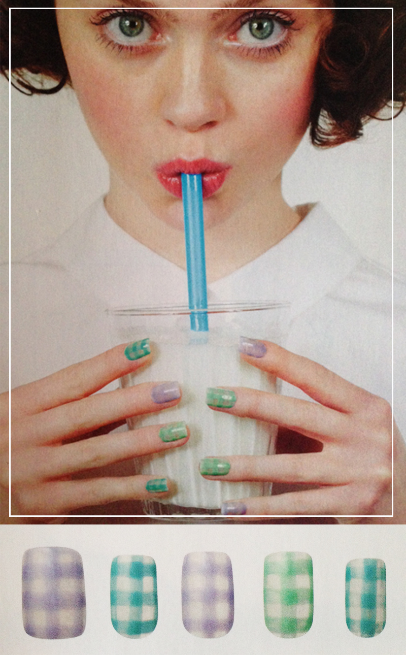 Como fazer nail art estilo xadrez nas unhas revistas de moda japonesa