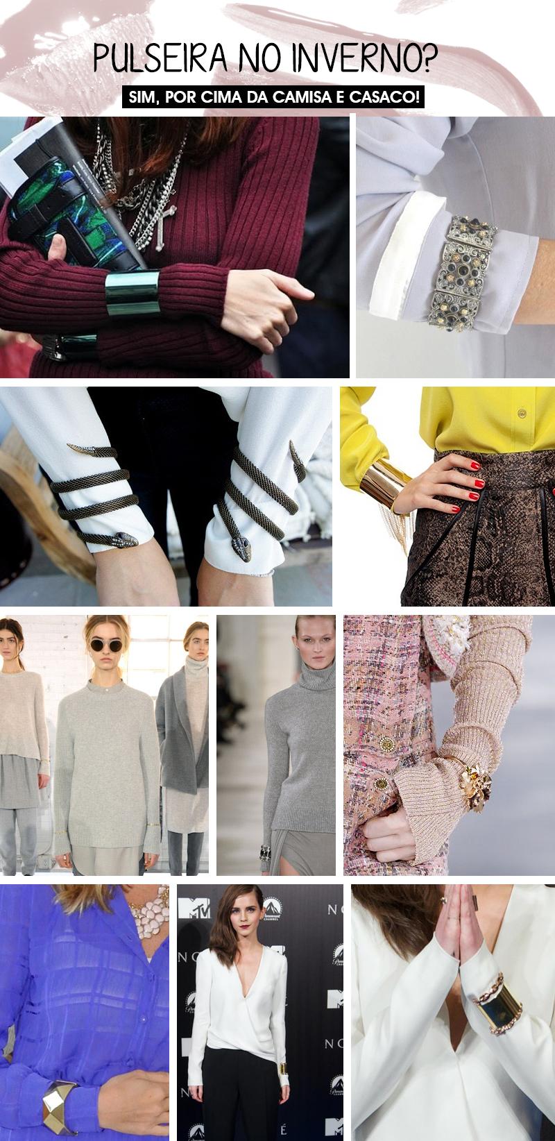 Como usar pulseira no inverno por cima de camisas blusão e casacos dicas de moda Deisi Remus