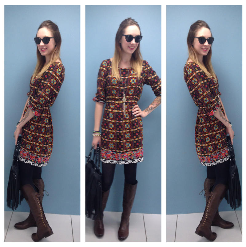 Look do dia Vestido estampado e botas over knee boots Deisi Remus