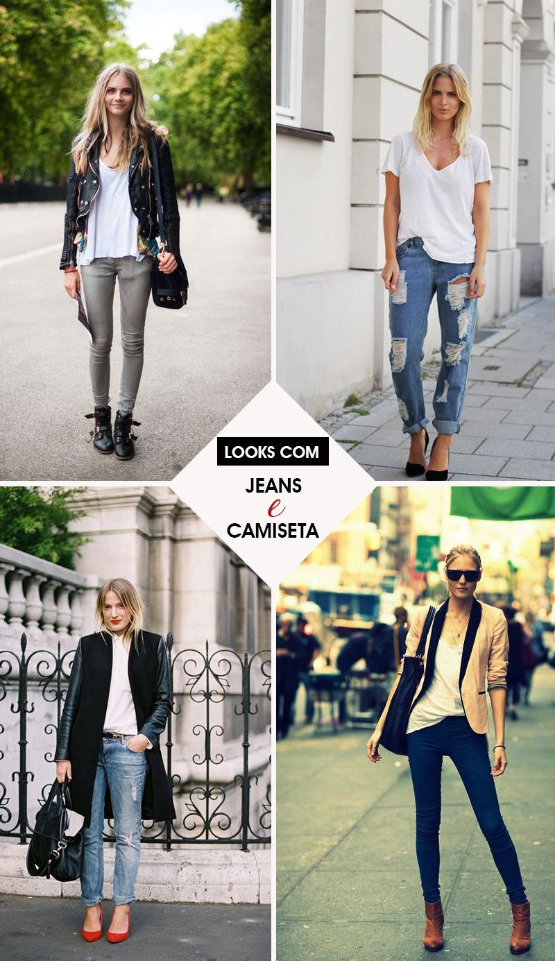 Looks com calça jeans e camiseta branca - Dicas de Moda e estilo por Deisi Remus