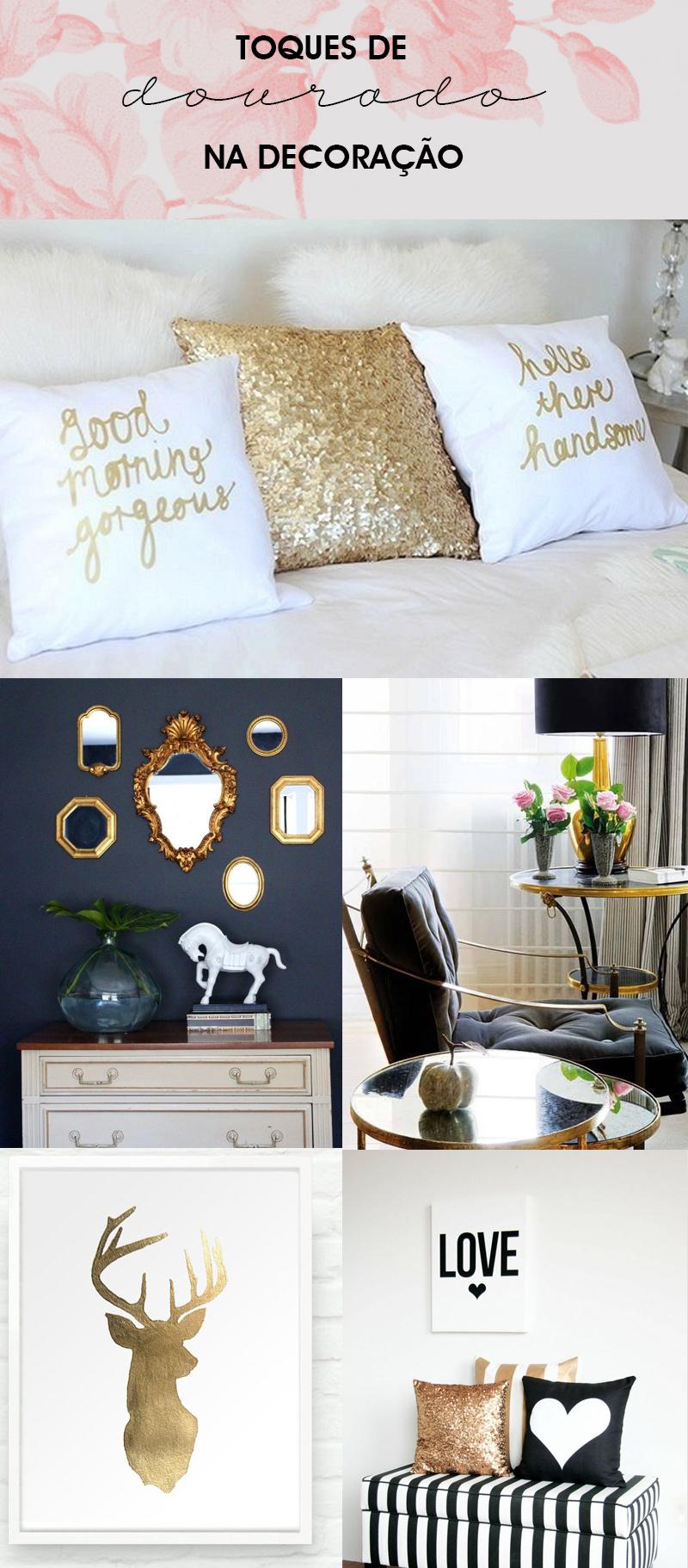 inspiração na decoração com toques de dourado