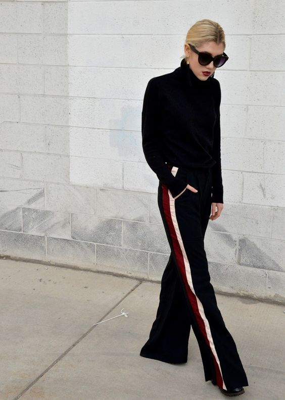 look preto com calça esportiva