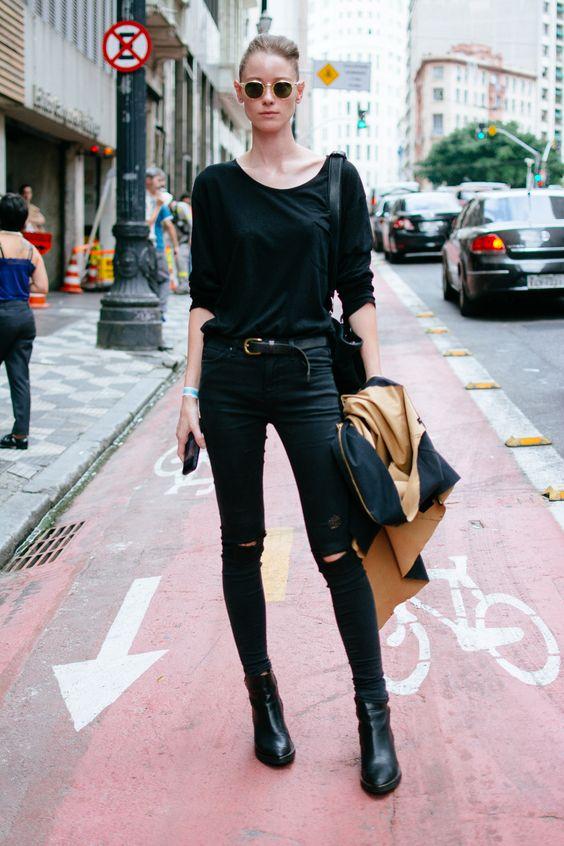 look preto moda de rua