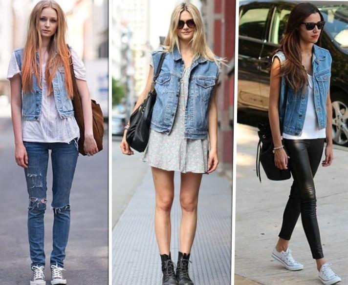 colete jeans como usar looks