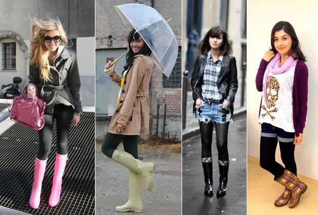 fotos de como usar galochas na chuva com estilo