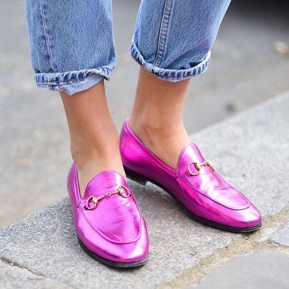mocassim rosa pink metalizado