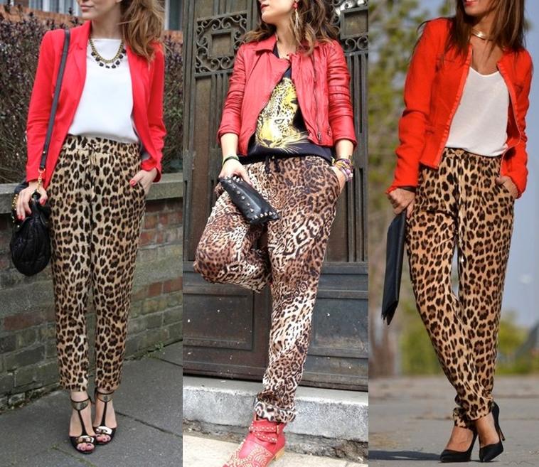 calça social com estampa de onça e blazer vermelho