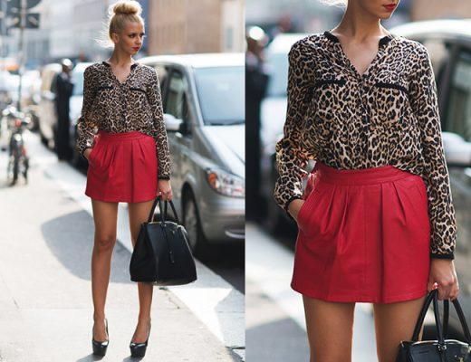camisa social de onça e saia de couro vermelha