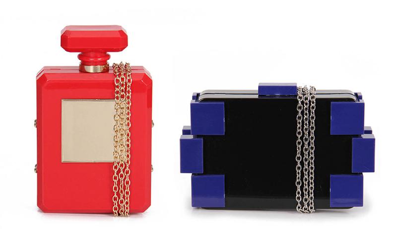 clutch fun modelos inpirados no perfume da Chanel e nos legos