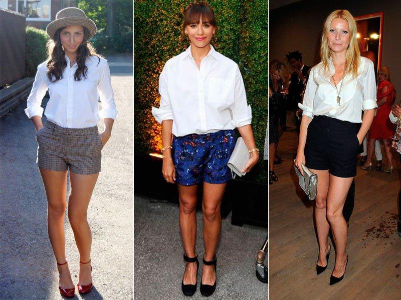 shorts social com camisa branca