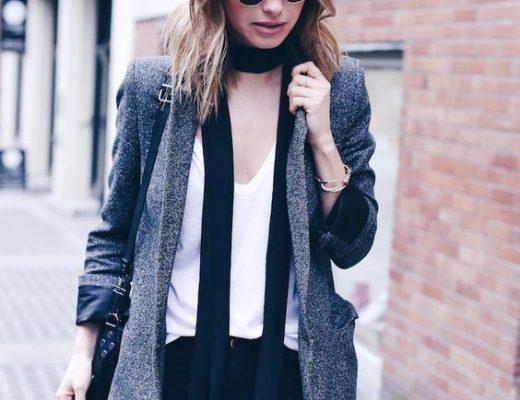 Skinny Scarf lenço fino com blazer