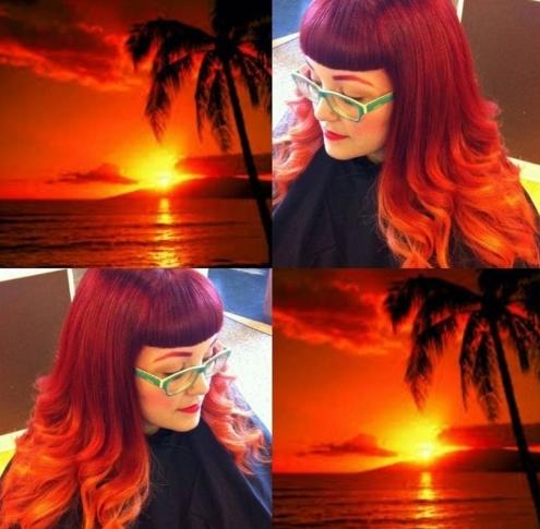 sunset hair  cabelo que imita cores do pôr do sol   Beleza